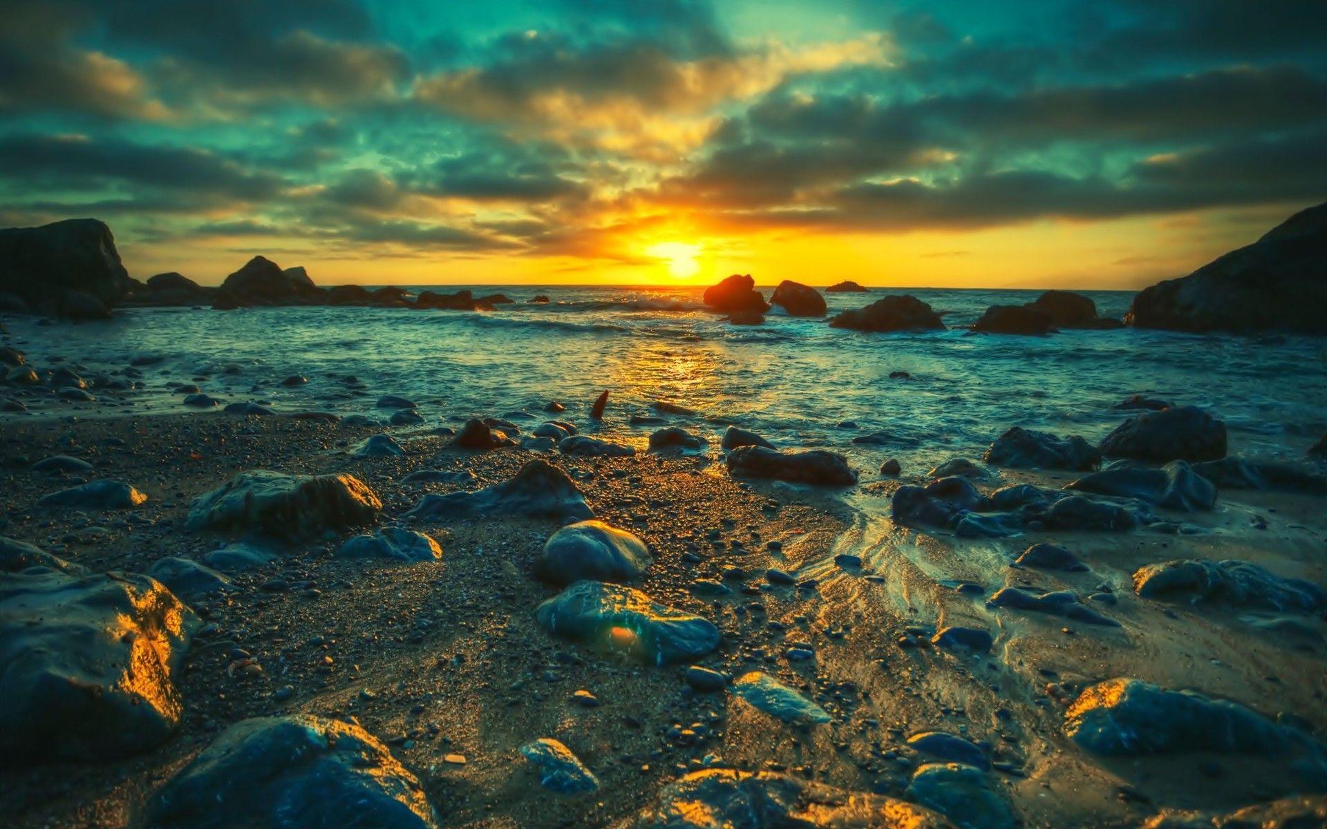 Landscapes sunset landscapes nature seas shore fresh new