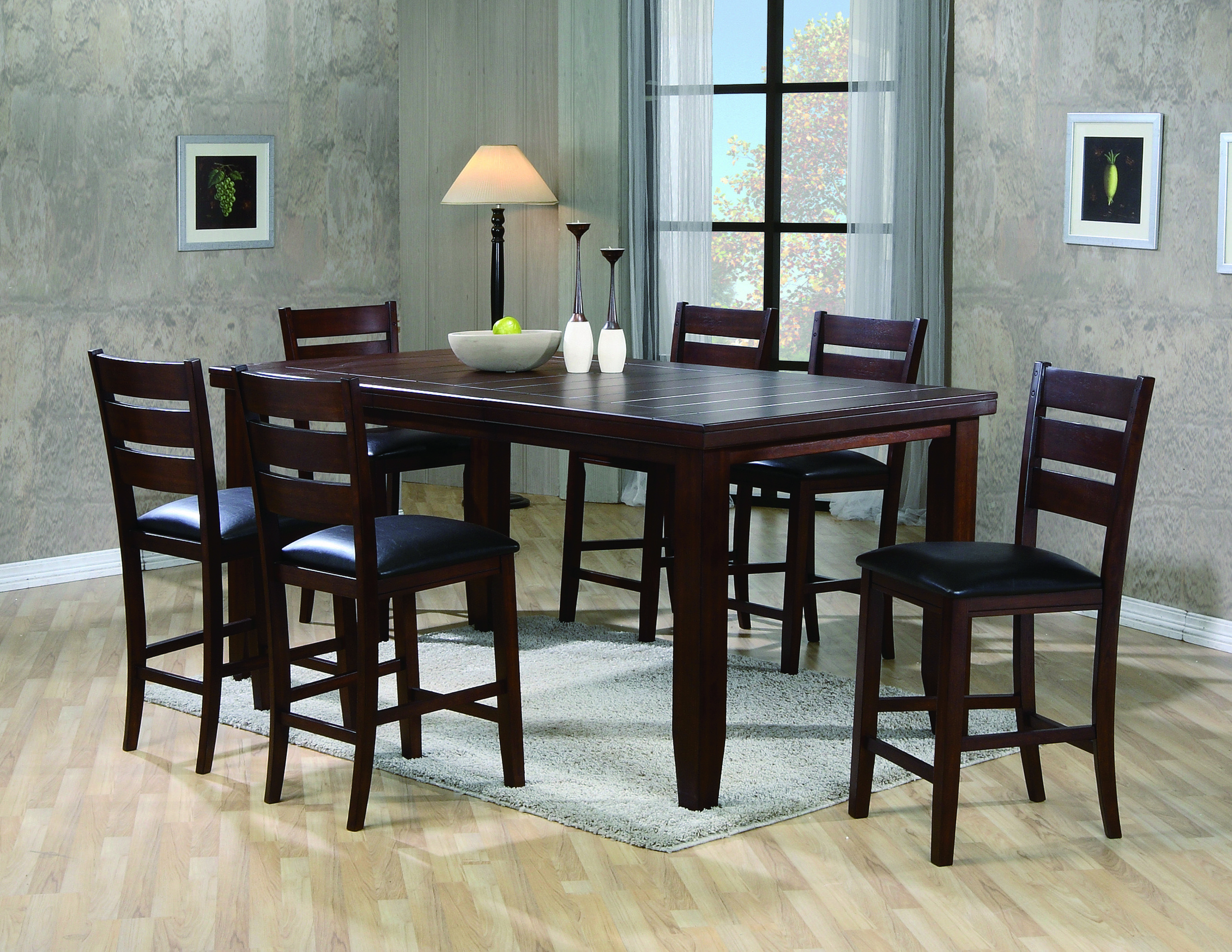 crown mark bardstow counter height table and 6 chairs. this