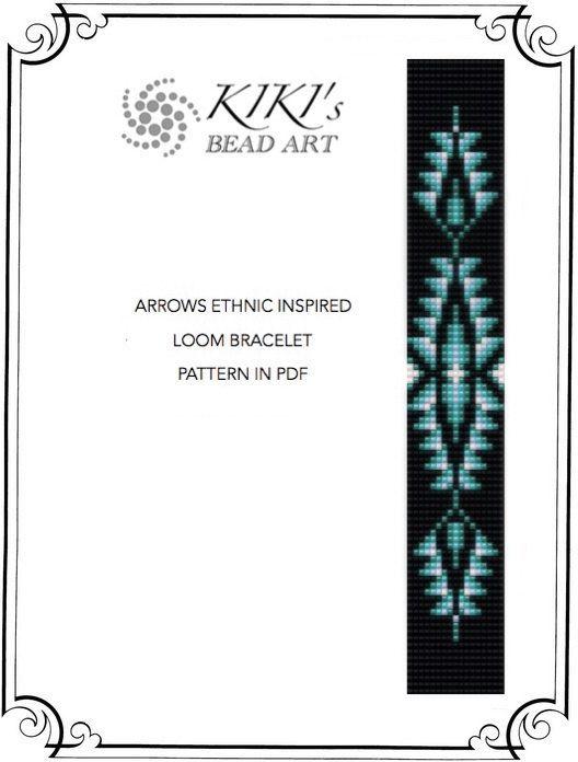 Arrows - ethnic inspired LOOM bracelet cuff pattern in PDF - instant download