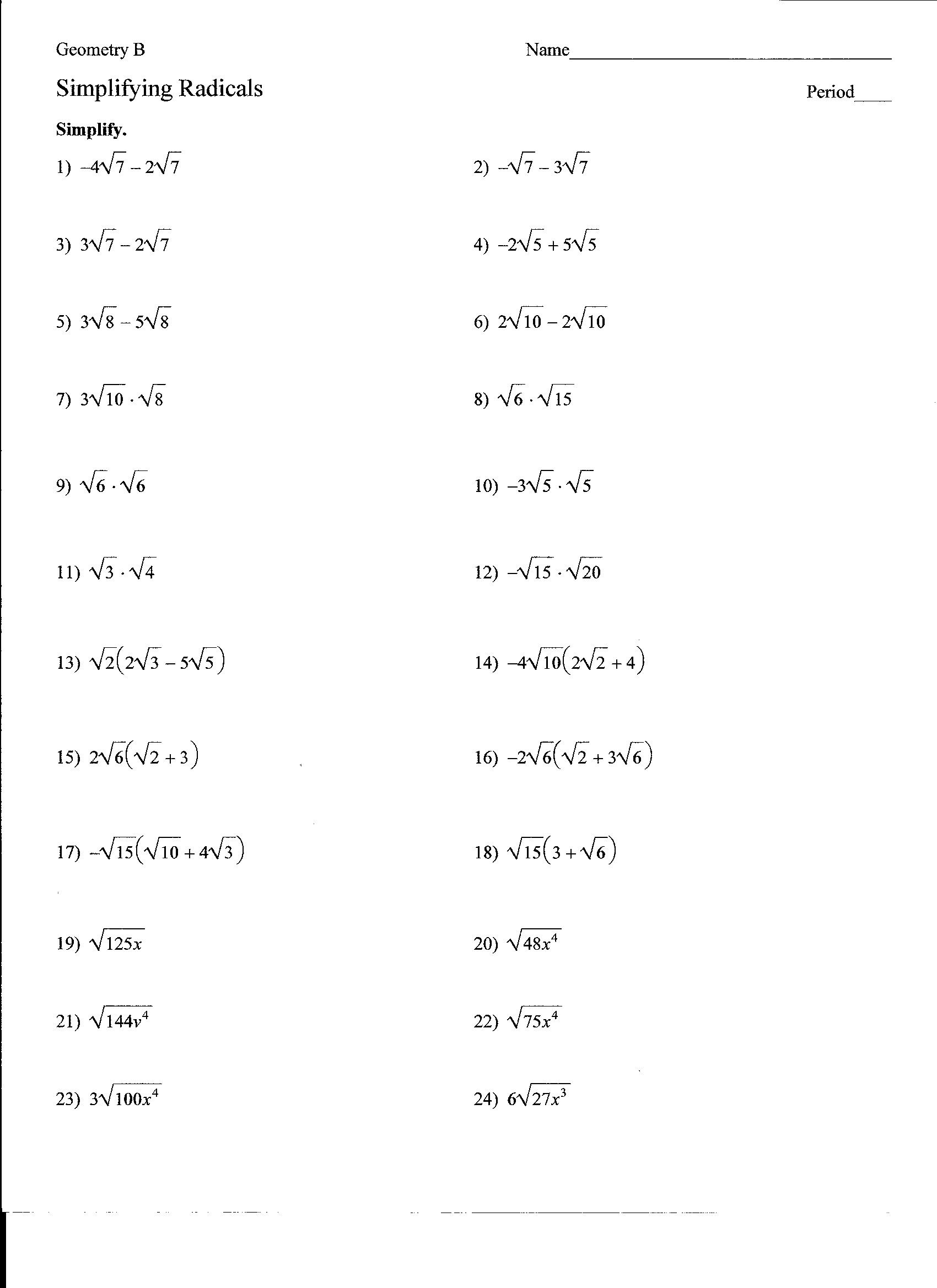 General Simplifying Radicals Worksheet 1