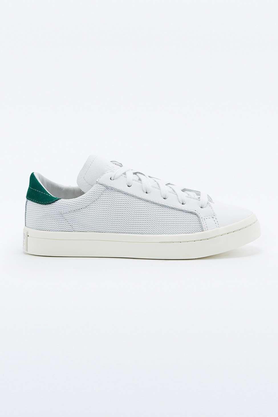 4632c55ac72564 adidas Originals Court Vantage White and Green Nubuck Trainers ...