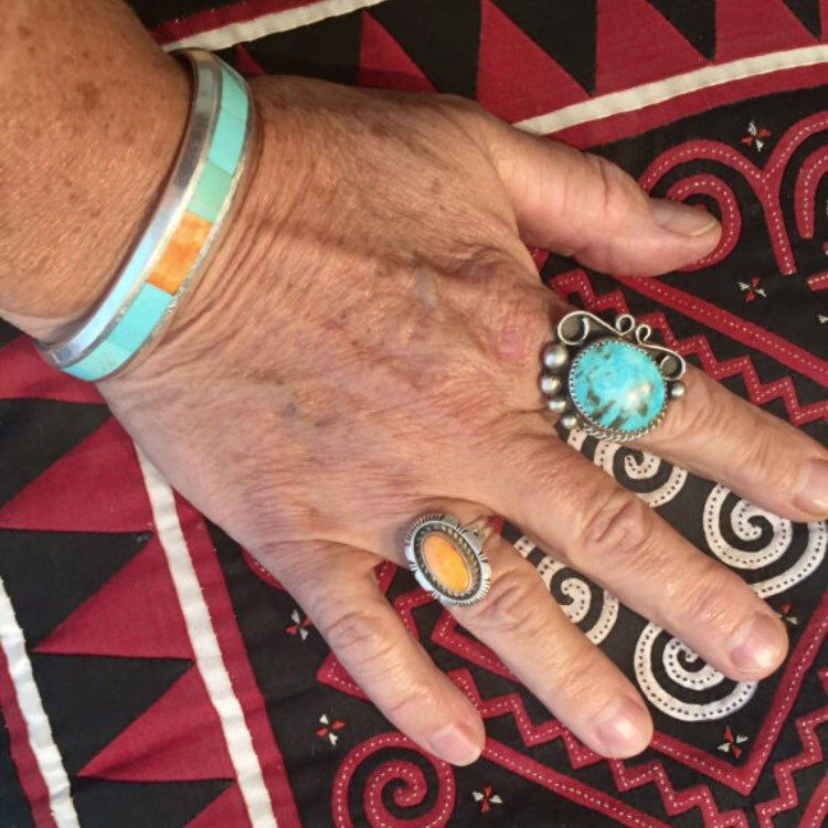 Gorgeous traditional yet modern American Indian turquoise ring. One of my favorites. Lots to choose from in the shop