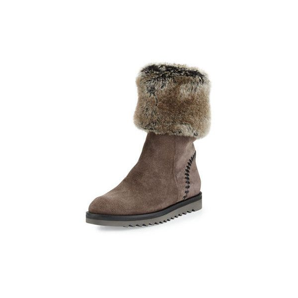 4153ff74b656aa Aquatalia Paulette Faux-Fur Lined Boot (35.750 RUB) ❤ liked on Polyvore  featuring shoes, boots, graphite, shoes boots, water-resistant boots, flat  shoes, ...