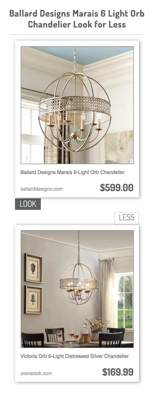 Ballard Designs Marais 6 Light Orb Chandelier Vs Victoria Distressed Silver