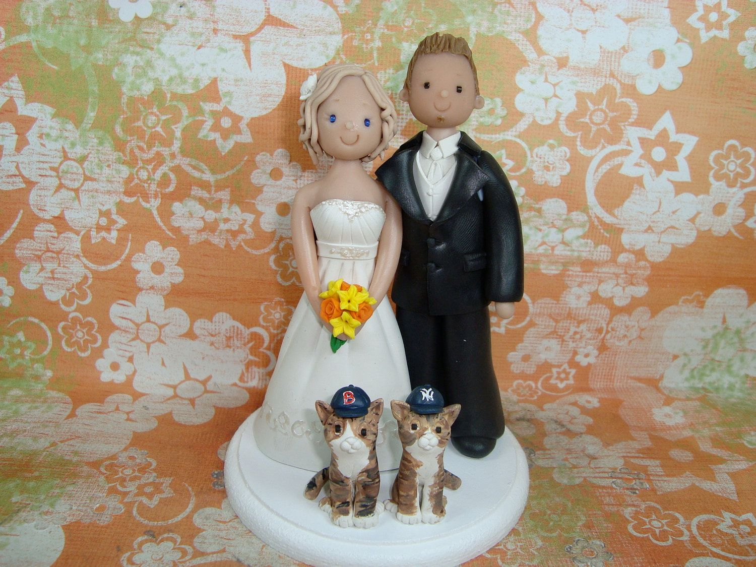 Personlized bride and groom with pets wedding cake topper