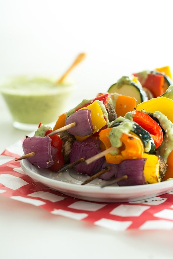 Vegan Green Goddess Dressing with Grilled Veggie Kabobs — Oh She Glows