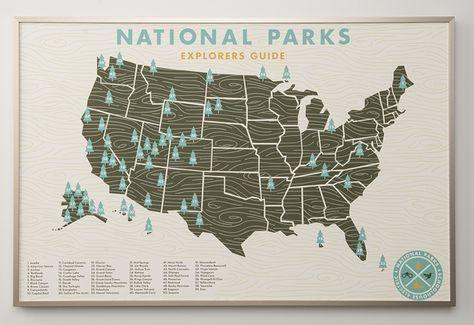Wanderlusting... US National Parks Map Print