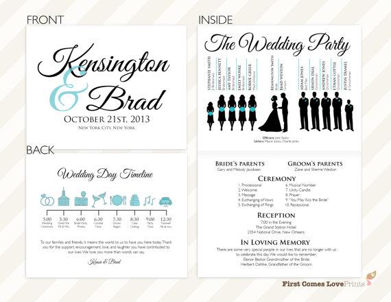 pdf silhouette wedding program the kensington half sheet folded