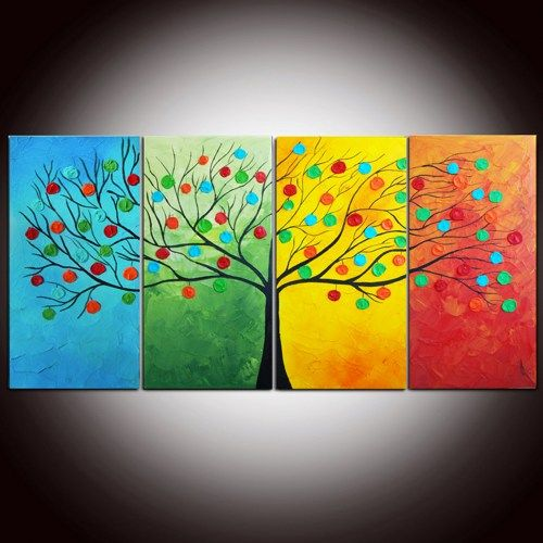 Large Original Modern Abstract Texture Painting 24x48 Textured Impasto Tree Colorful Wall Decor