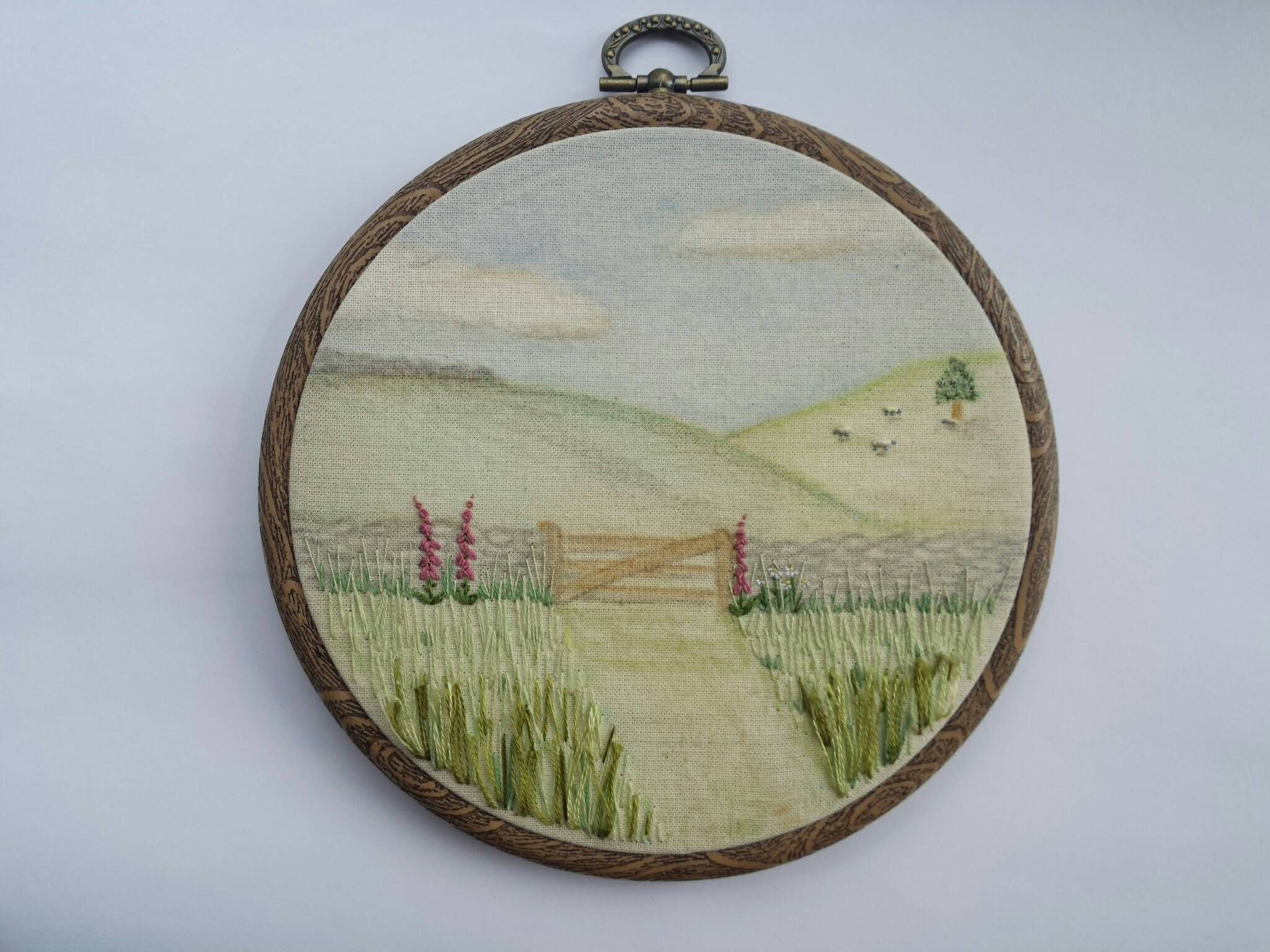 Hand Embroidered Countryside Scene Foxgloves Country Gate