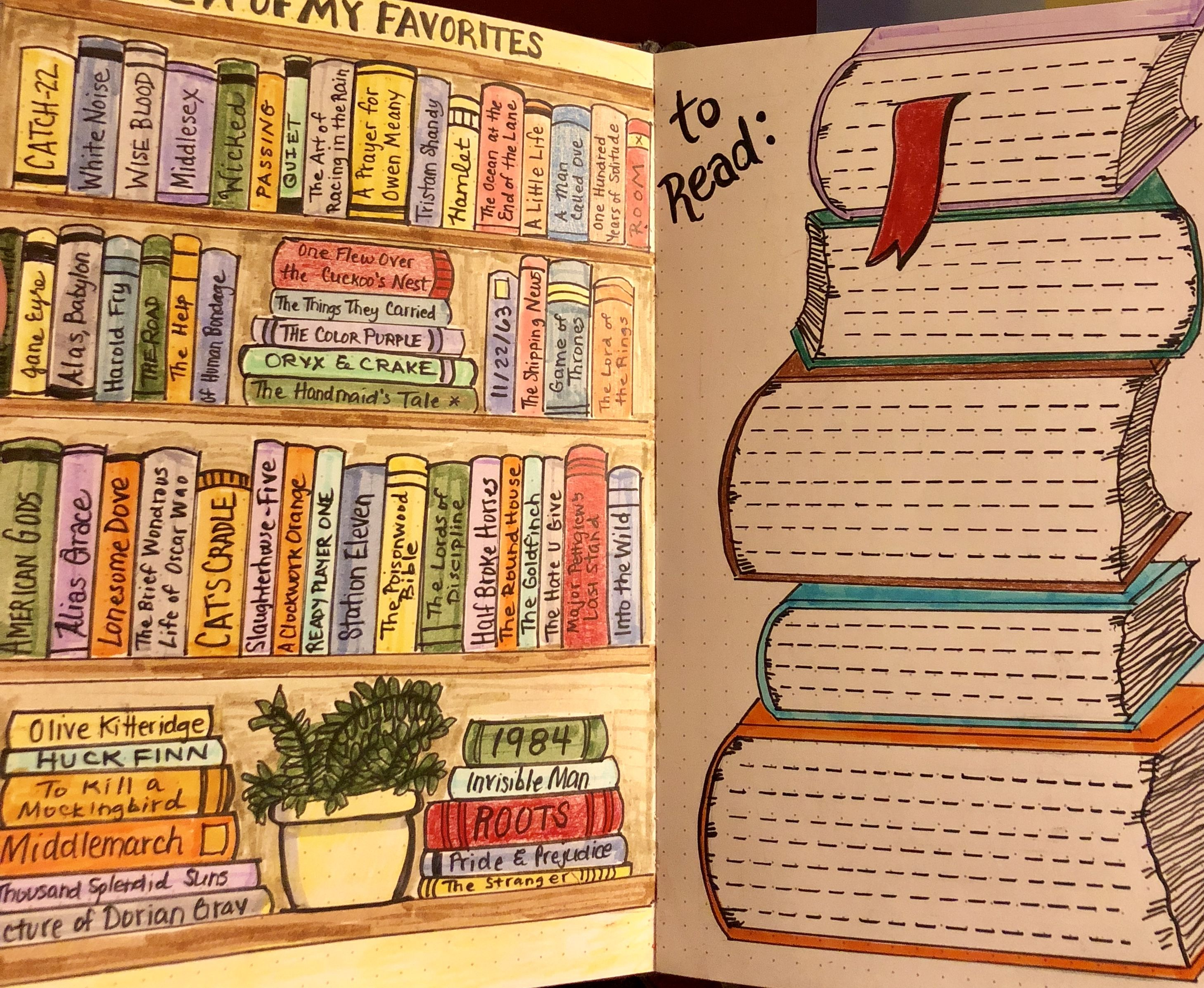 Favorite Books And Books To Read Bujo Bulletjournal Bullet Journal Books Bullet Journal Ideas Pages Planner Bullet Journal