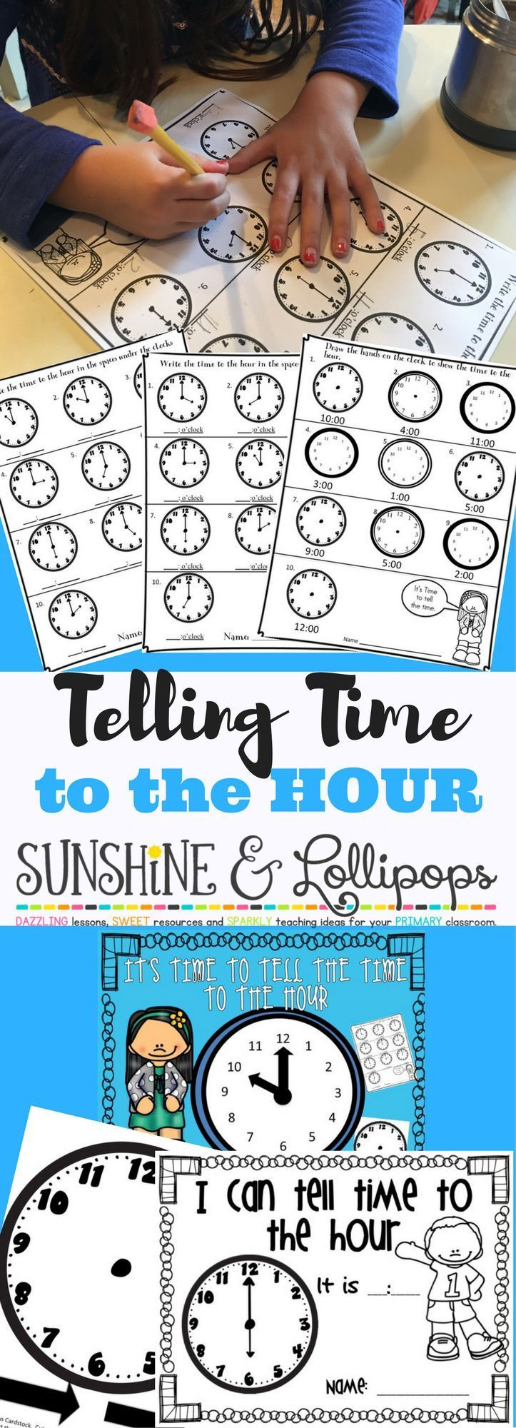 Telling Time to the Hour Power Point Introduction and PDF Worksheets ...