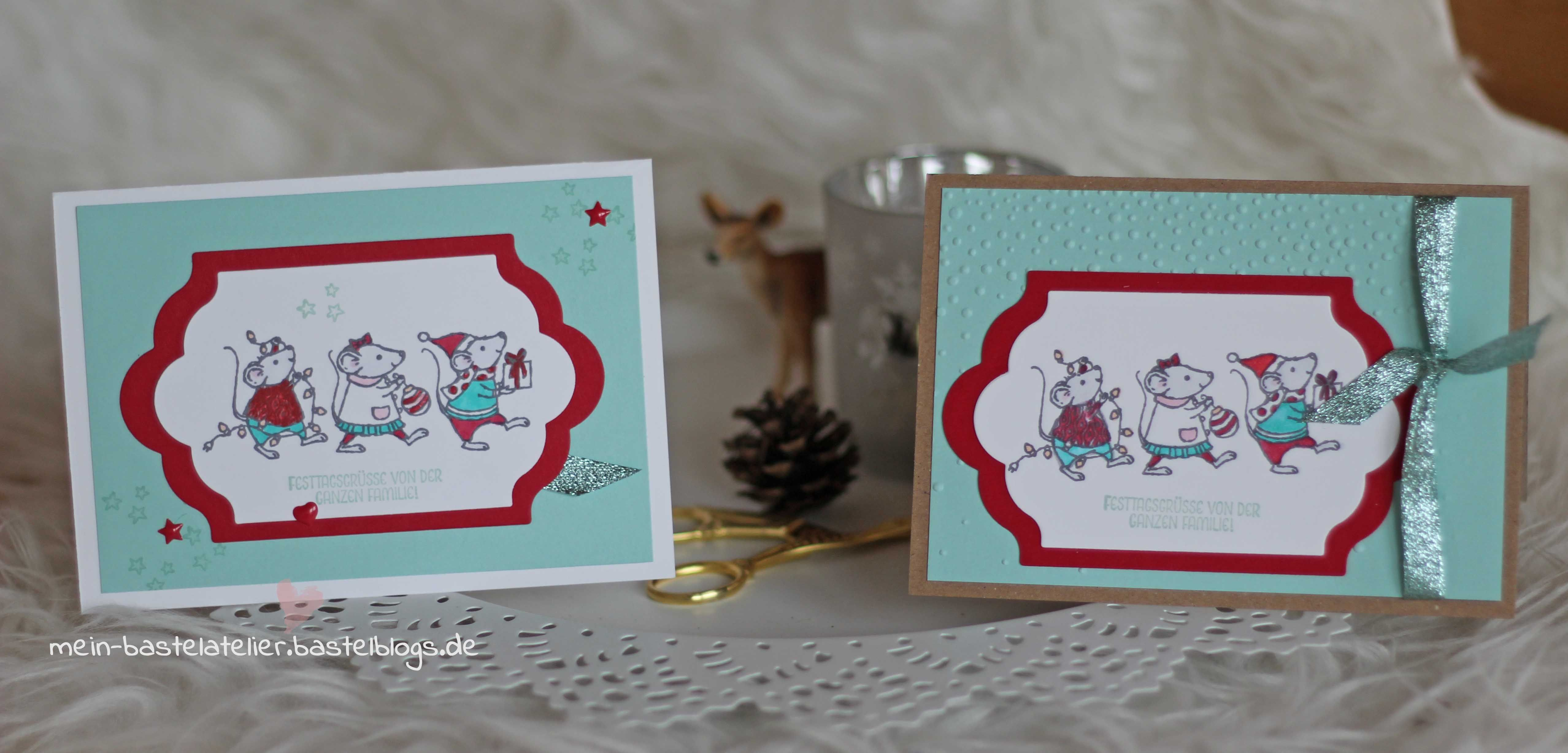 Weihnachtskarte Festtagsmäuse von der ganzen Familie Stampin Up