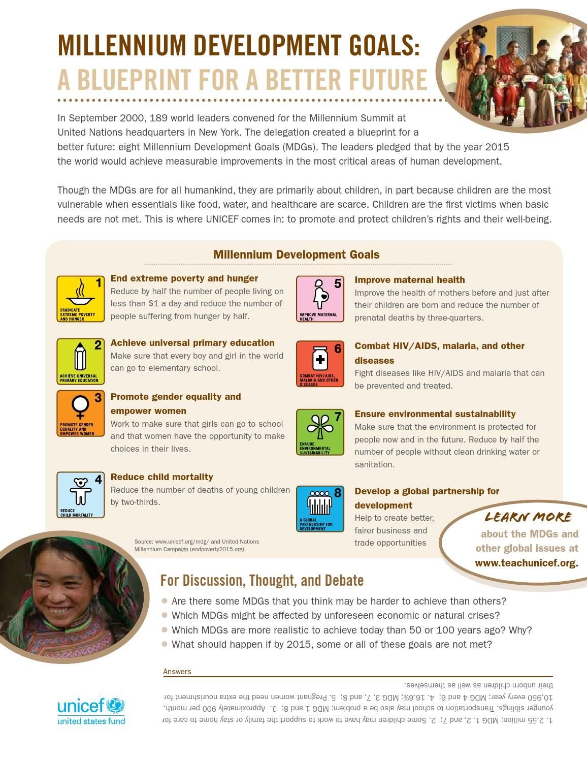 A worksheet for students about the Millennium Development Goals ...