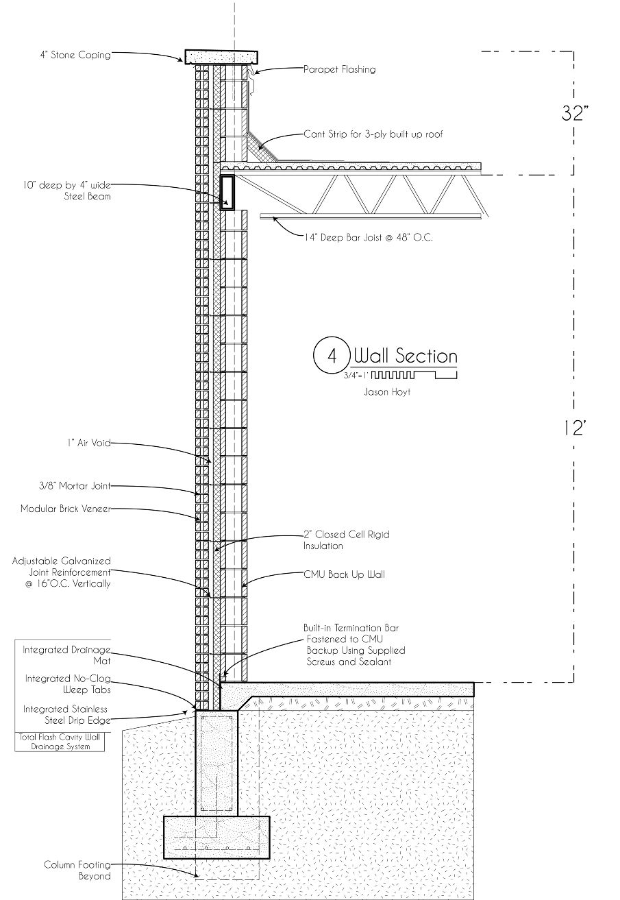 Image Result For Cmu Wall Section Coping Stone Brick Veneer Steel Beams
