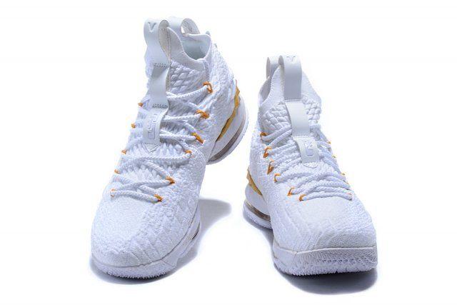 1502a676691936 Nike LeBron 15 Men s Basketball Shoes White Gold Basketball Rim