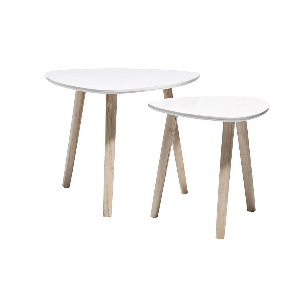 Bout De Canape Blanc Emma X 2 Table Basse Et D Appoint Salon Meuble Gifi Table Basse Table Basse Salon Bout De Canape