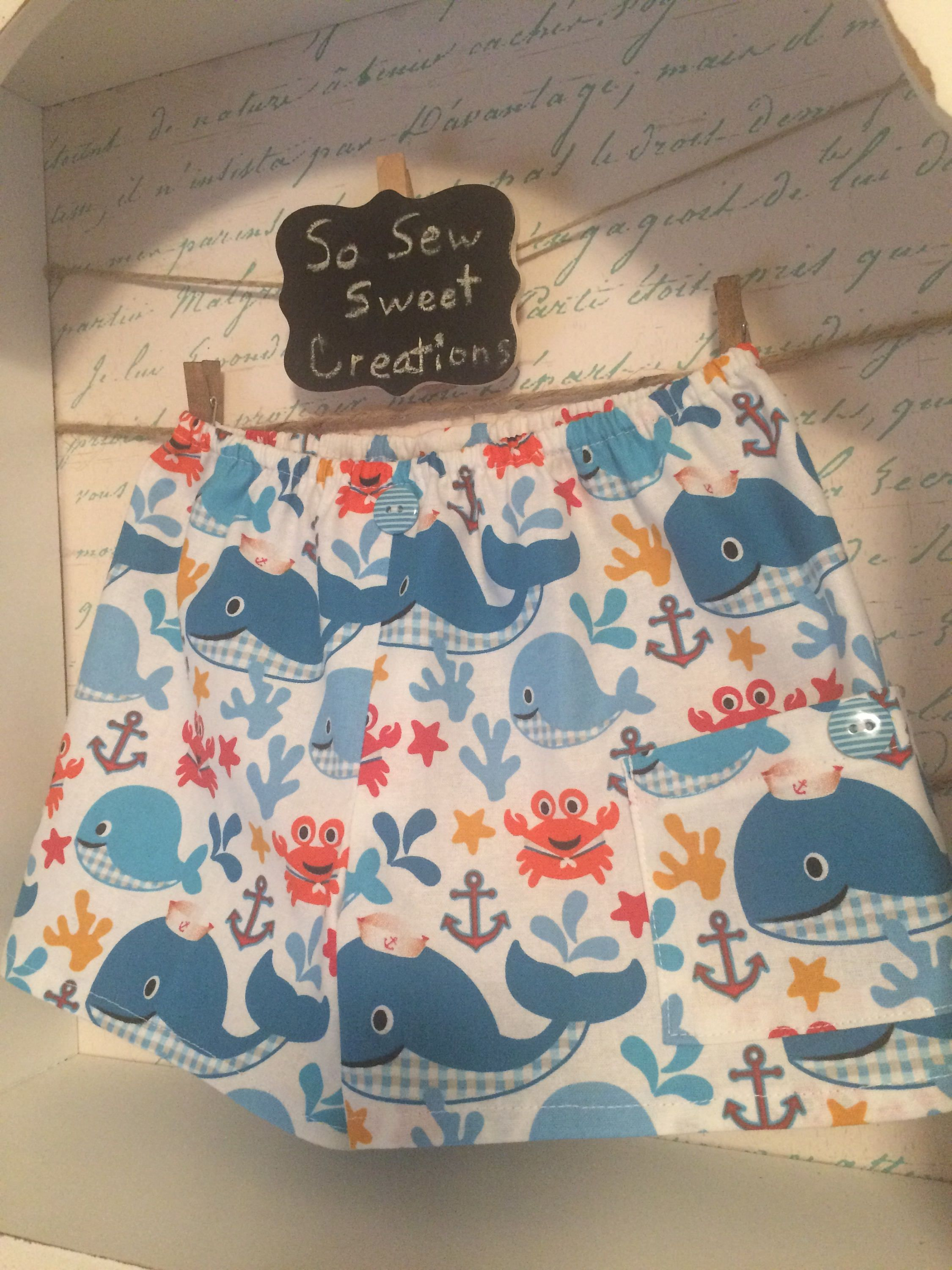 Whales and Sealife Toddler Shorts with tiny cargo pocket on side for extra treasures.  Adorable whales, crabs, starfish