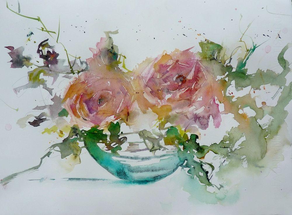 Mes Roses De Noel Aquarelle Fleurs Cartes A L Aquarelle Art Floral