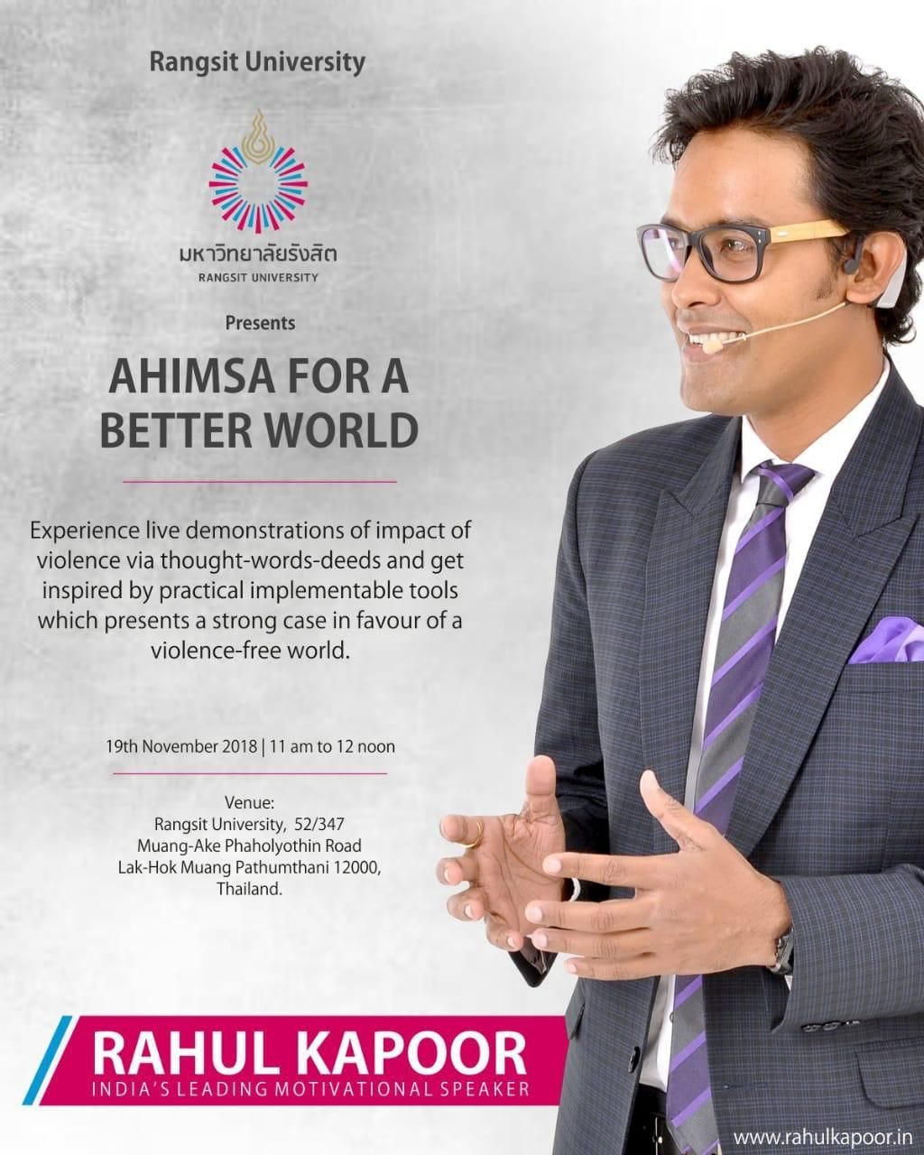 AHIMSA for a better world by Rahul Kapoor, Indian's top