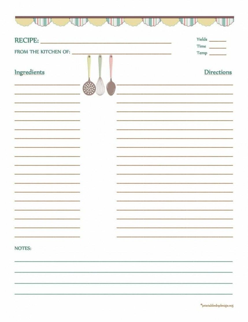 Free Full Page Recipe Templates For Word - RESEPTEMB With Full Page Recipe Template For Word
