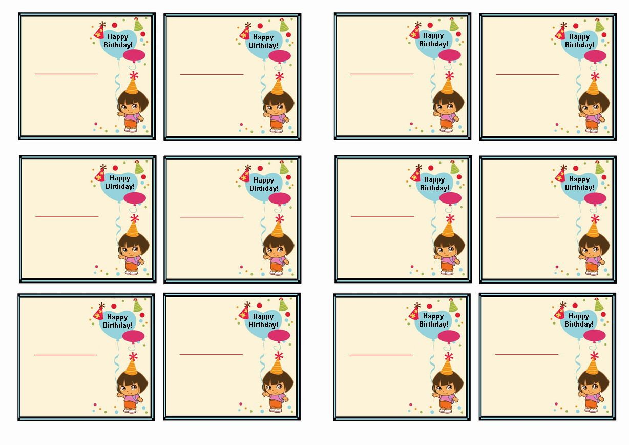 Free Printable Dora The Explorer Themed Name Tags