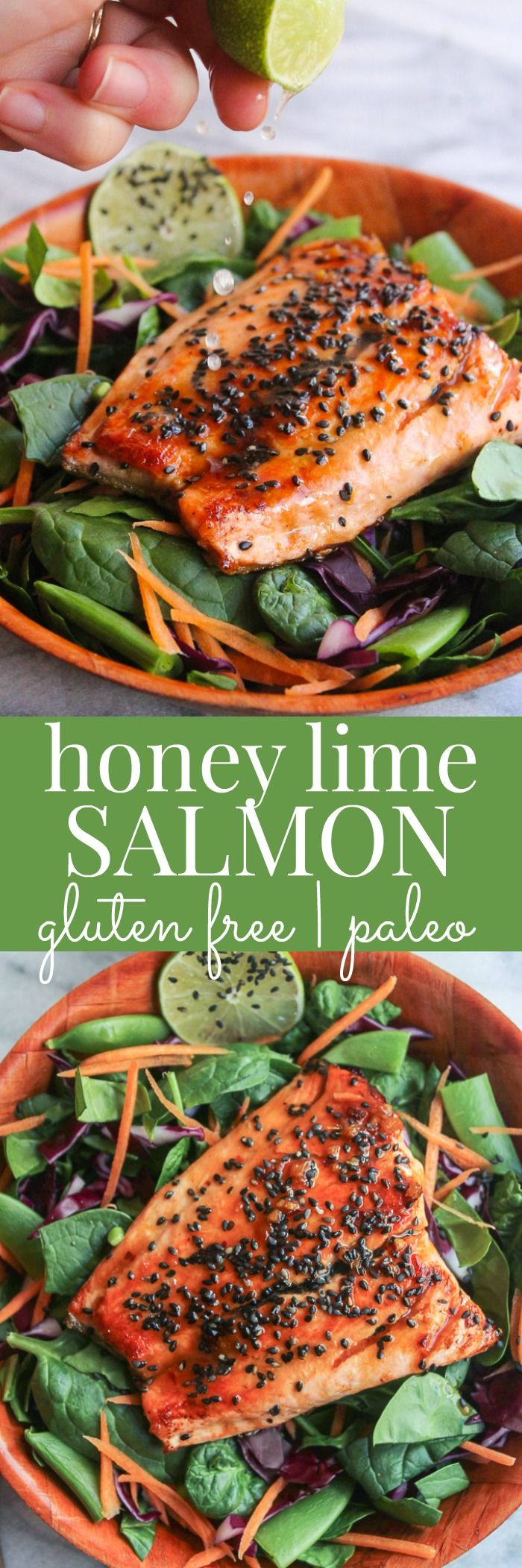 Use arrowroot and coconut aminos to make paleo friendly! Honey Lime Salmon  easy + healthy 15 minute dinner that's gluten free & paleo friendly