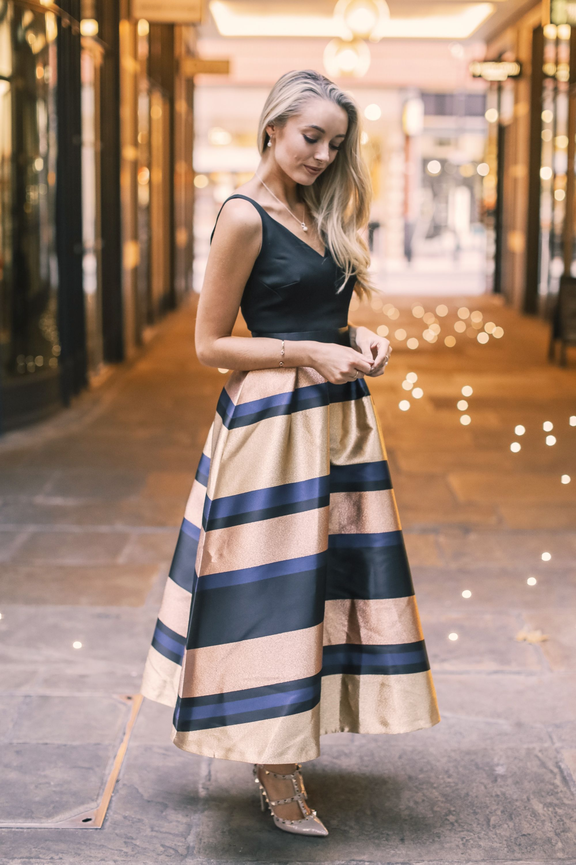 Fashion Mumblr Josie wears Coast's Rita Metallic Stripe Dress