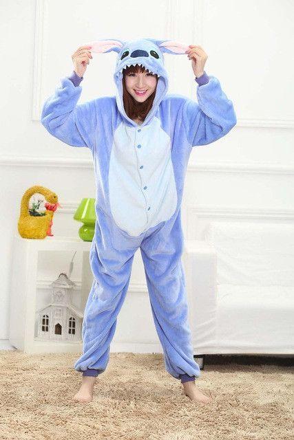 Blue Stitch Women Men Adult Pajamas Animal Cosplay Costumes Kigurumi Sleepwear