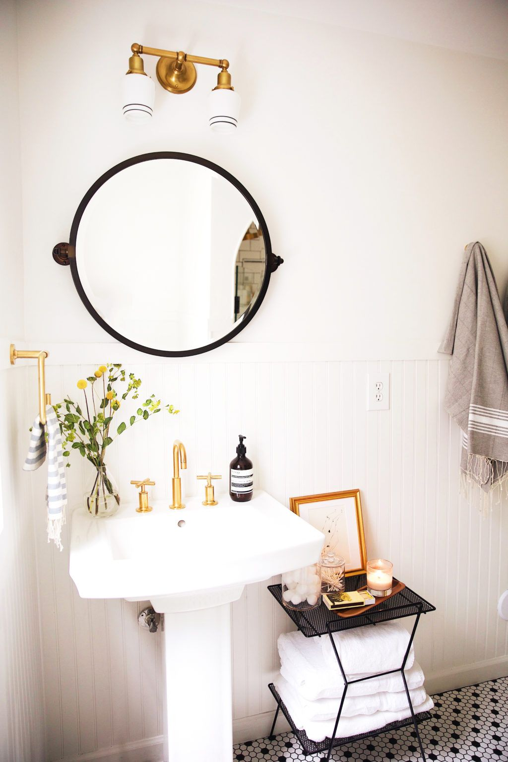 New Darlings Before After Bathroom Reveal Vintage Minimal - Pretty hand towels for small bathroom ideas