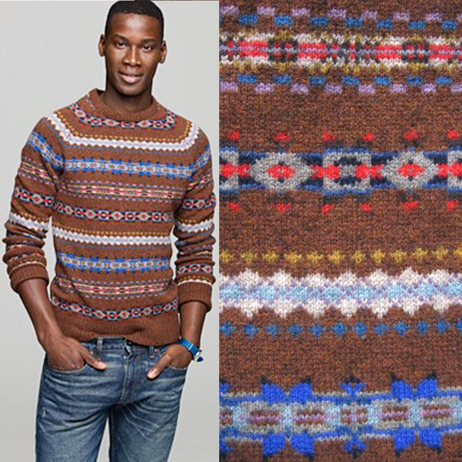 MENS J CREW Fair Isle Sweater Aberdeen Lambswool Norway Norwegian ...