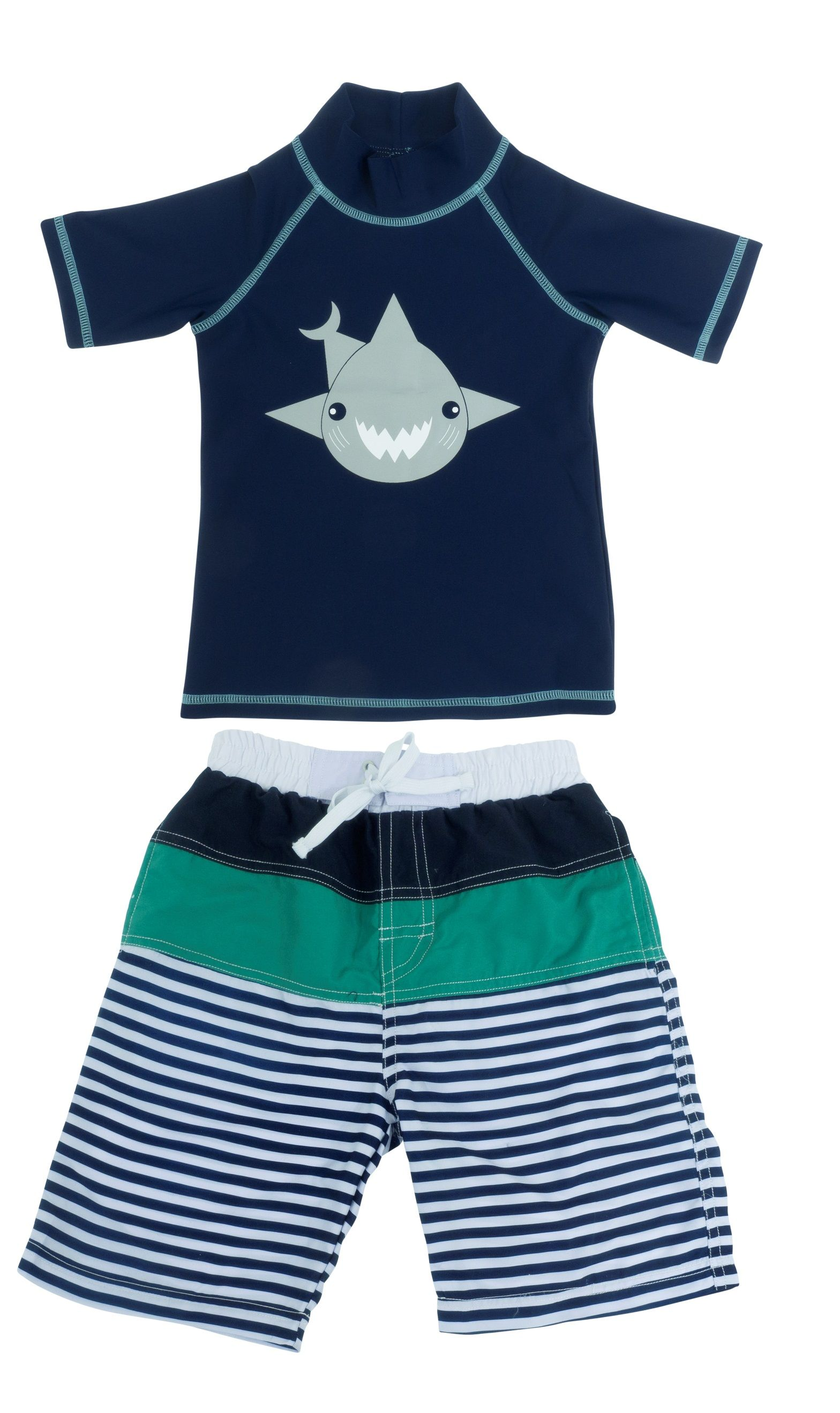 6271dcf7bbd83 Banz Boys UV swimwear set Navy Shark SS top and Tropical Stripe  Boardshorts. Banz 2018 swimwear range for boys and girls aged 3 months to 6  years.