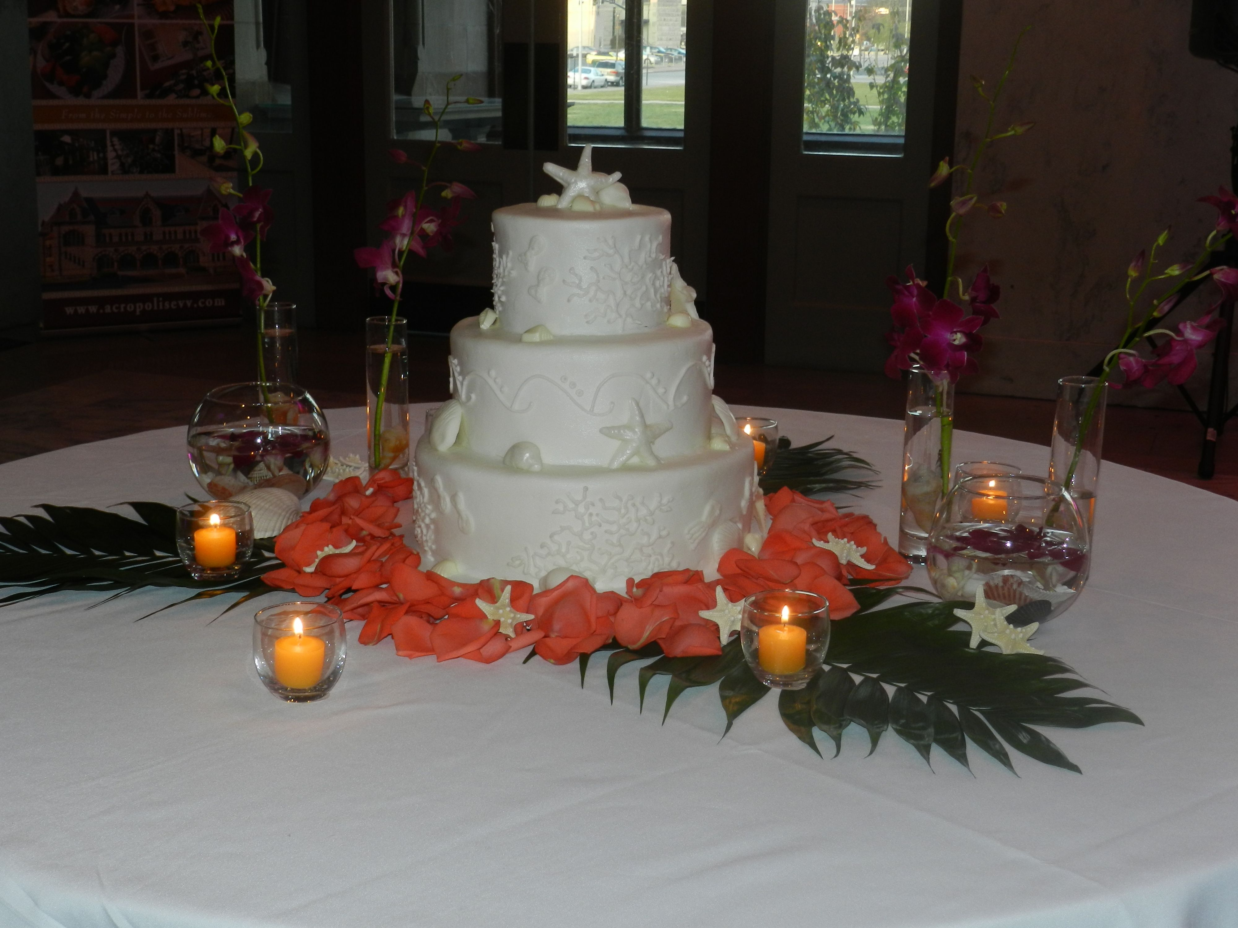 Th wedding anniversary event tropical themed with cake made by