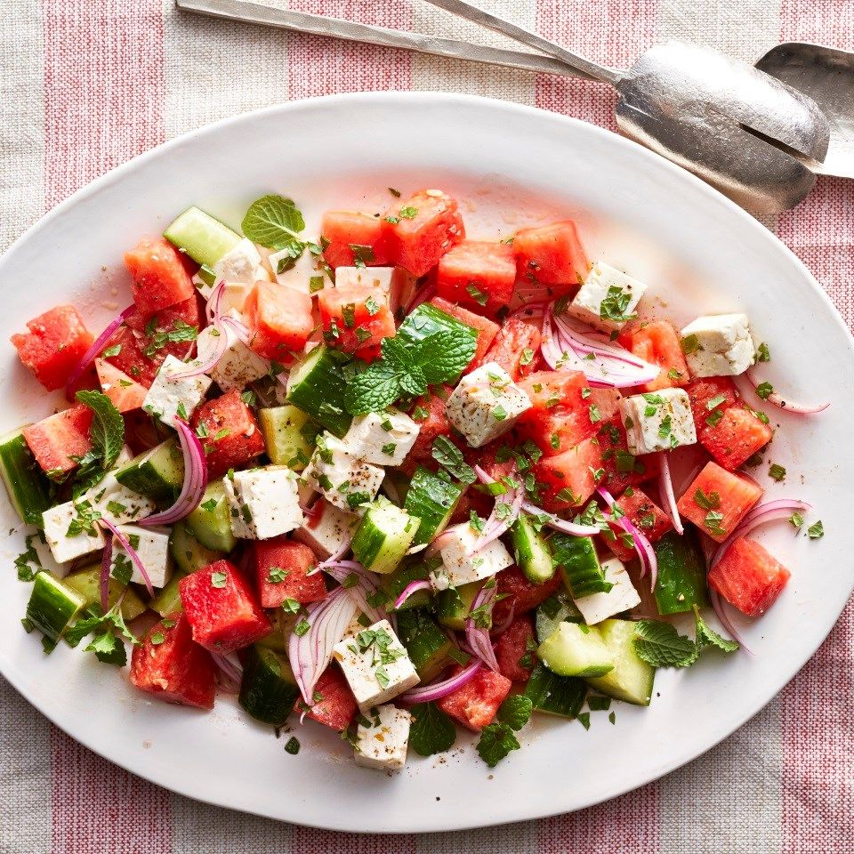 Watermelon and Cucumber Salad with Mint & Feta - The Produce Moms