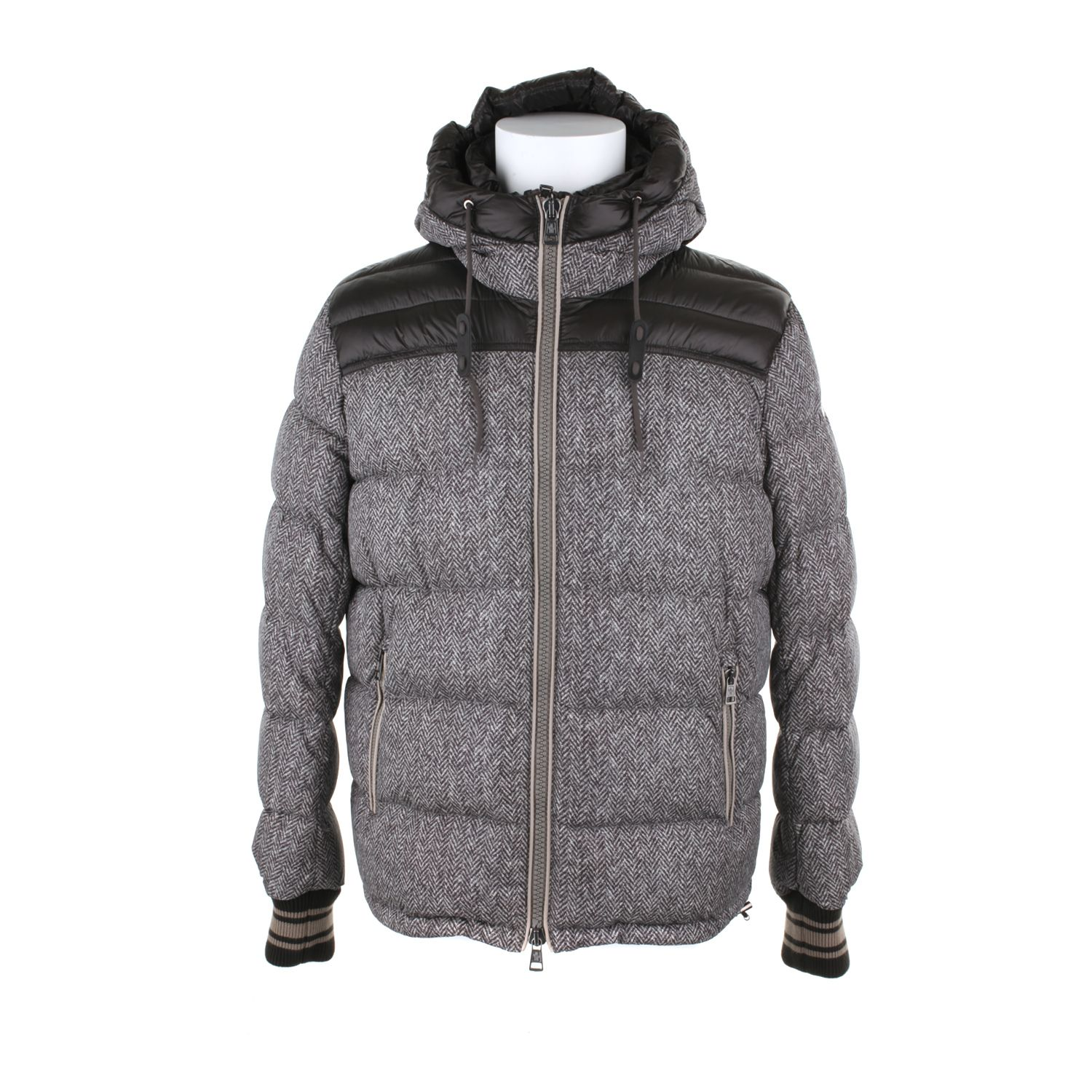 Moncler Down Jacket in Polyamide Fibers with A Tweed
