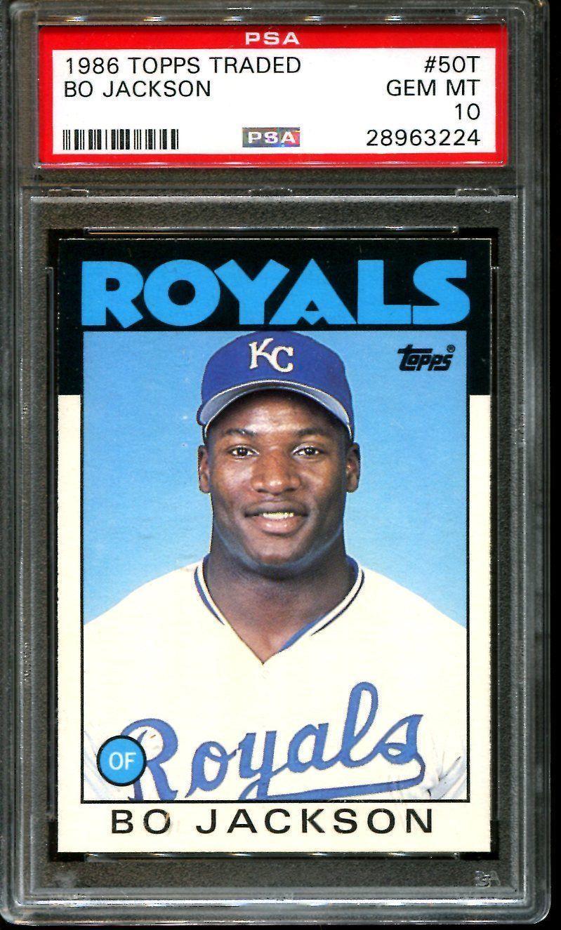 1986 topps traded 50t bo jackson royals psa 10 gem mint