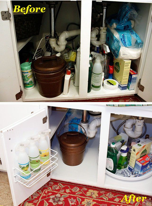 Use a lazy susan to organize under the sink