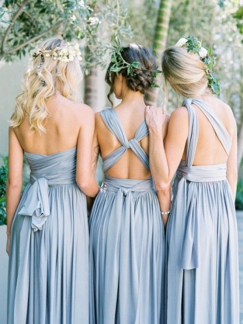 fdb862e614 ... Convertible Long Jersey Dress - Davids Bridal. Wear it how you want it   Convertable Versa Dress. smokey blue bridesmaid dresses - Google Search