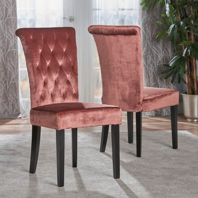 venetian new velvet tufted dining chair blush set of 2 rh pinterest com