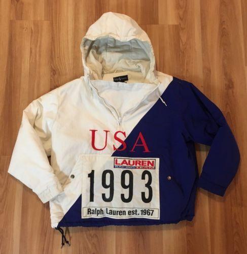 47d088e6 VINTAGE-RALPH-LAUREN-1992-1993-RACING-TEAM-COAT-M-STADIUM-P-WING-USA-POLO -RARE