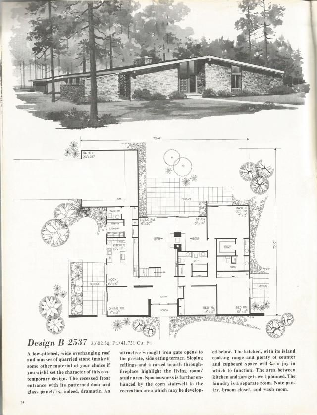vintage house plans, mid century homes, 1960s homes | house plans
