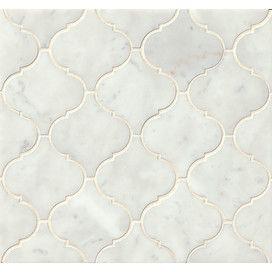 Ogee Marble Mosaic Tile in White Carrara