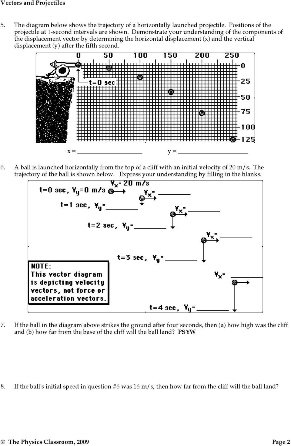 Horizontally Launched Projectile Worksheet Answers Projectile Motion Vectors And Projectiles Pdf Free Dow In 2020 Projectile Motion Worksheets High School Lesson Plans