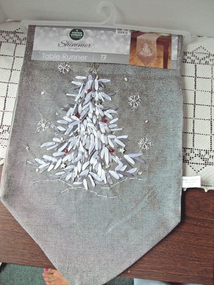 Christmas Table Runner Shimmer Collection Winter Wonder Lane Ribbon Embroidery Winterwonderlane Christmas Table Runner Christmas Table Ribbon Embroidery