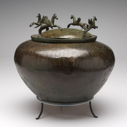Large, round-bottomed bowl (dinos)  Unknown artist, Campanian  Large, round-bottomed bowl (dinos), 490 - 470 BCE  Bronze  RISD Museum