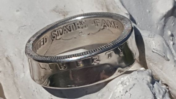 "1963 Benjamin Franklin Silver Half Dollar Coin Ring w/ Mirror Finish | Double Sided | Straight Wall | Comfort Fit Sides ""For Sale"" on ETSY made by www.PatriotCoinRings.com (photos © )"