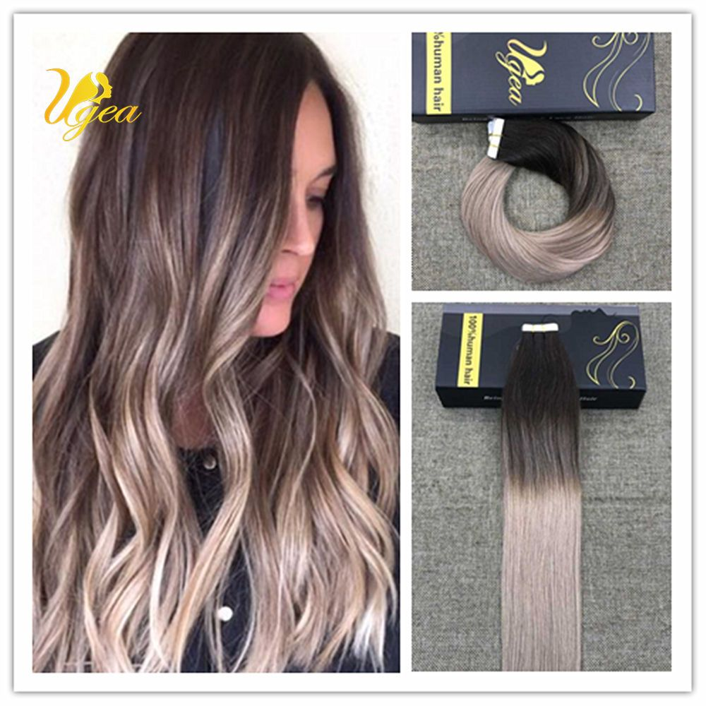 7a Balayage Ombre Brown To Dark Ash Blonde Remy Tape In Human Hair