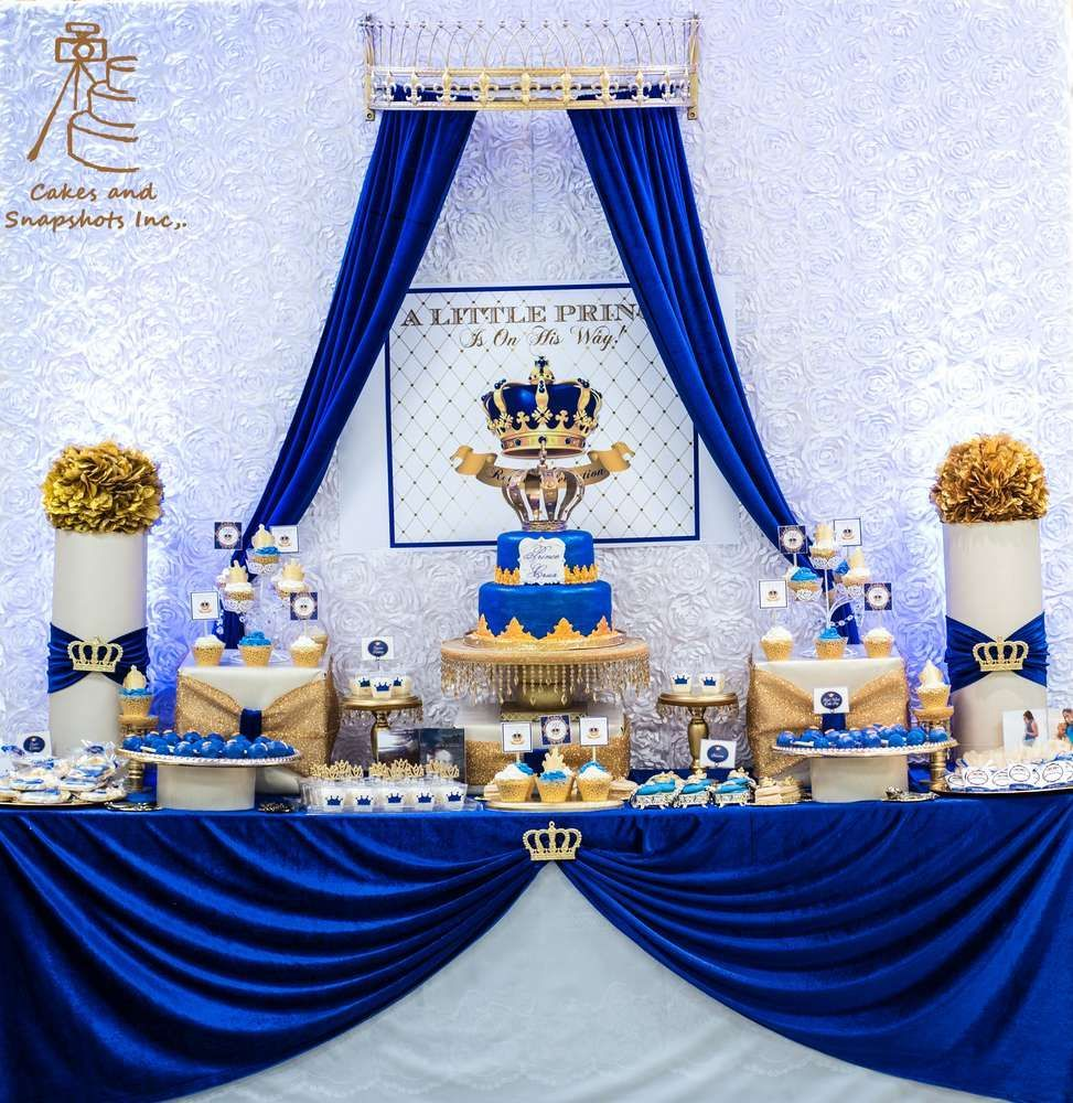 Wedding decorations royal blue  Royal Prince Baby Shower Party Ideas  Photo  of