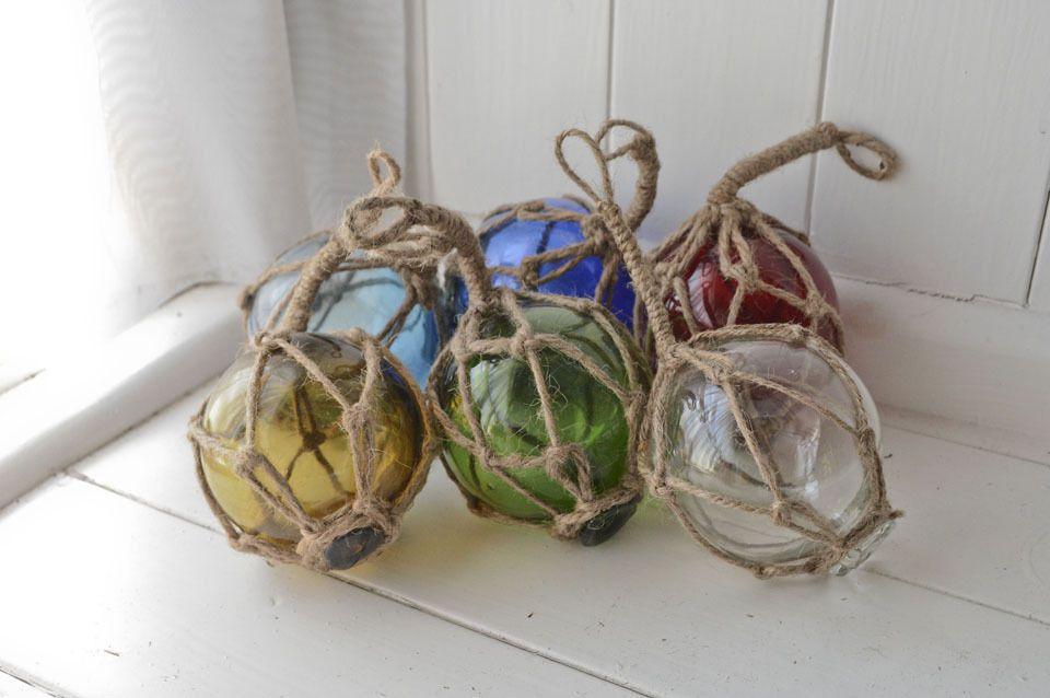 "6x 3"" glass buoy floats nautical seaside fishing floats roped net floats buoys | eBay"