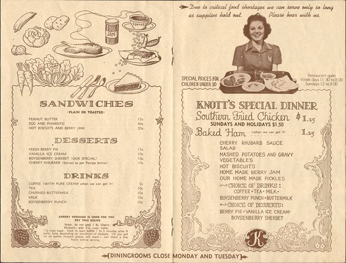 1970/'s Knotts Chicken Dinner Menu Rare Knotts Berry Farm  Mrs